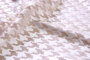 Pink Chenille Jacquard Polyester Fabric by 410GSM pictures & photos