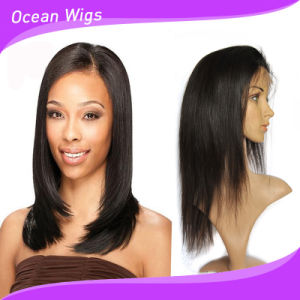 Black Color 100% Virgin Human Hair Straight Front Lace Wig pictures & photos