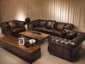 Antique Chesterfield Leather Sofa Set, Wipe off Leather Sets pictures & photos