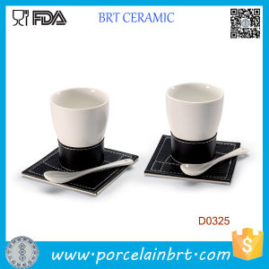 White Ceramic Coffee Cup with Spoon and Tray pictures & photos