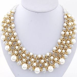 Statement Necklaces 2017 Pearl Jewelry Vintage Big Crystal Necklaces & Pendants Statement Necklaces Women Accessories Wholesale