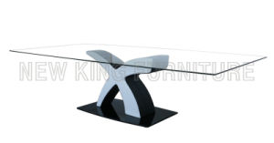 Modern Simple Design Temper Glass Top with Stainless Steel Foot Dining Table (NK-DT012)