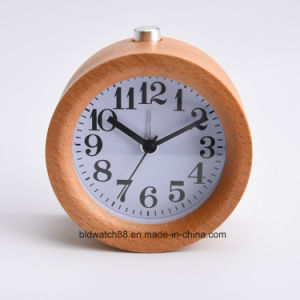 Handmade Small Table Snooze Beech Wood Alarm Clock with Nightlight pictures & photos