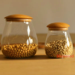 1000ml Glass Storage Jar Storage Can with Bamboo Lid pictures & photos