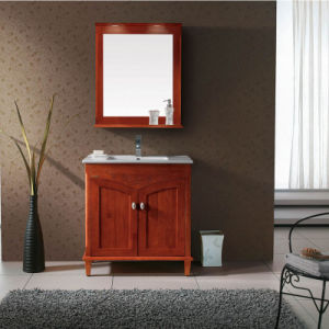 Solid Wood Built-in Basin Double Door Bottom Bathroom Furniture with Mirror pictures & photos
