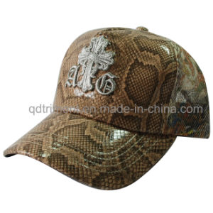 Shinning Fake Leather Fabric Custom Embroidery Trucker Hat (TMT1917) pictures & photos