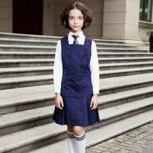 Winter Wear School Uniform Navy Dresses and Shirt pictures & photos