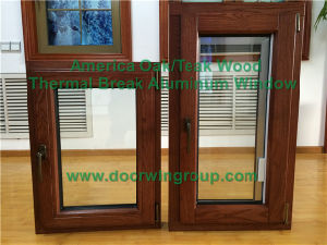 American Style Foldable Crank Handle Aluminum Clad Wood Casement Window, America Villa Solid Oak Wood Tilt & Turn Window pictures & photos
