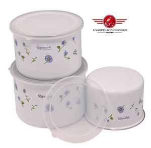 Iron Enamel Storage Box with PP Lid and Beautiful Decal pictures & photos