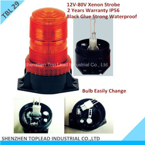 12V-80V Amber Xenon CE-Mark IP56 2years Warranty PC Lens Black Glue Base 1W Strobe Warning Light (TBL 29)