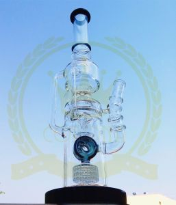 Recycler Colorful Glass Water Pipe with Honey Comb Percolater for Smoking pictures & photos