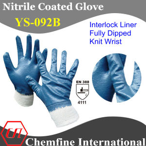 "Interlock Glove with Blue Nitrile Full Coating & Knit Wrist/ EN388: 4111/ Size 7"", 8"", 9"", 10 (YS-092B) pictures & photos"