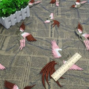 New Design Bird Embroidery Fabric for High Quality Women Dress pictures & photos