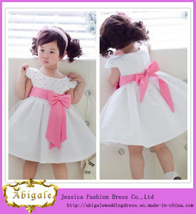 New Design White Lovely Short Sleeve Scoop Satin Flower Girl Dress (MI3501)