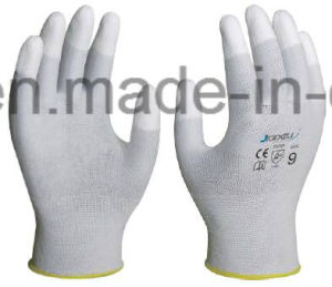 White Nylon Glove with PU Coated on Fingertips (PN8011) pictures & photos