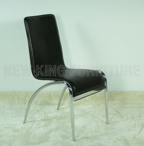 Modern Cheap Comfortable Chrome Steel Foot PU Leather Dining Chair (NK-DC047)