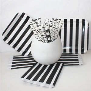 Black & White Paper Straw Bag and Plate with Different Designs pictures & photos