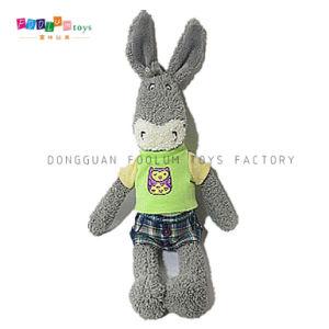 (FL-069) Fashion Plush & Stuffed Donkey with Clothes Children Soft Toy
