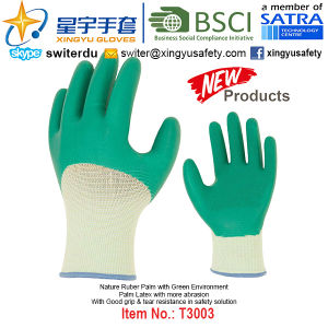 (Patent Products) Latex Coated Green Environment Gloves T3003 pictures & photos