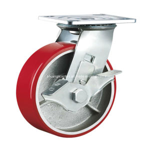 Heavy Duty Double Ball Bearing Cast Iron PU Industrial Caster