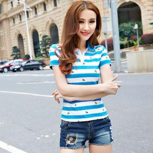 Fashion 100% Cotton Golf Custom Striped Polo Shirt pictures & photos