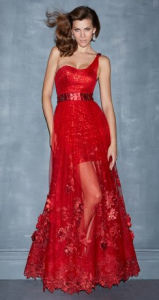 Fashion Lady Red Transparent Cocktail Party Prom Evening Dress