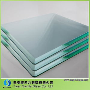 Tempered Clear Float Glass Panel with Beveled Edge for Building pictures & photos