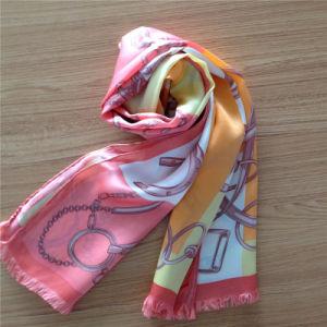 Printed Silk Satin Scarf with Fringe