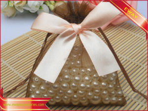 Jewelry String Pouch Organza Gift Pouch with Ribbon Bow pictures & photos