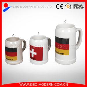 Personalized White Custom Logo Print Ceramic German Beer Mug pictures & photos