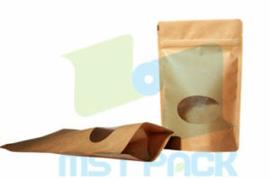 Kraft Paper Stand up Pouch with Front Window and Zipper pictures & photos