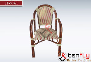 Garden Used Rattan Bistro Stacking Bamboo Look Chair for Sale