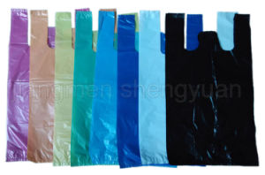 HDPE Plain Plastic Retail Grocery Shopping T-Shirt Handle Bag pictures & photos