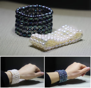 5rows Elastic Black Flat Shape Fashion Cultured Pearl Bracelet Jewelry pictures & photos