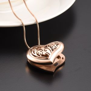 Stainless Steel Heart Rose Gold Essential Oil Diffuser Necklace pictures & photos