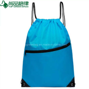 Popular Nylon Polyester Drawstring Backpack Bag with Front Zipper Pocket pictures & photos