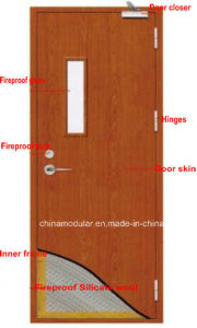Timber Fire Door with View Glass for Entrance (CHAM-FRTD02) pictures & photos