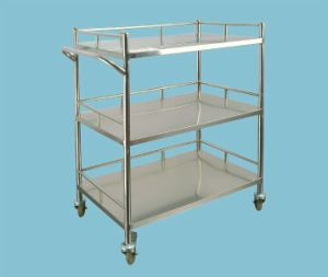 Hospital 3-Tier Movable Stainless Steel Instrument Trolley pictures & photos
