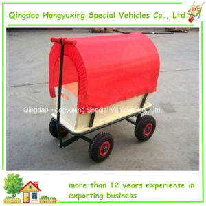Kids Red Wooden Wagon with Canopy Tc1812m for Children