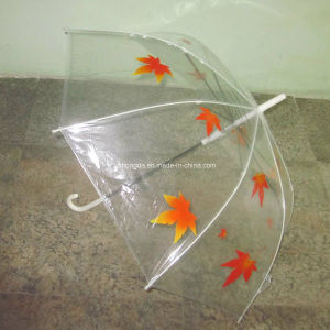 Printed Maple Leaf Transparent Poe Fabric Umbrella (YSPOE0002) pictures & photos