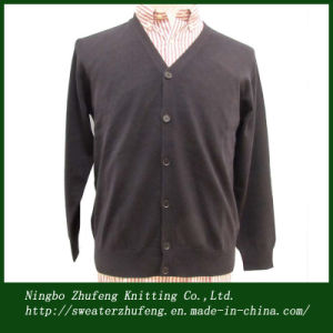 Men′s V Neck Knitted Cardigan Sweater (NBZF0014)