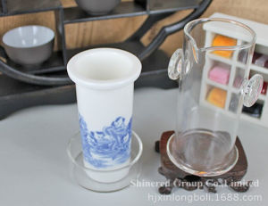 China Style Cup Ceramic Filter Gift Cup Borosilicate Glass Cup pictures & photos