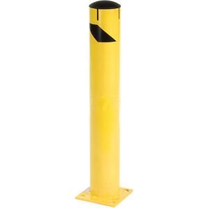 Steel Bollard with Removable Rubber Cap & Chain Slots - Existing Concrete 42X5-1/2