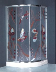 Special Design Tempered Glass Painting Shower Box (H018) pictures & photos