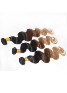 Stock #1b #4 #27 Virgin Human Hair Bundles Ombre Color Hair Weft pictures & photos