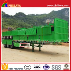 3axles 60ton Flatbed Container Semi-Trailer with Detached Sidewalls pictures & photos