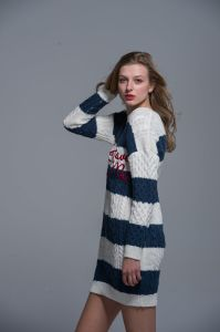 Ladies Long Sweater Cotton Fashion Blue White Autumn Winter Women Comfortable pictures & photos