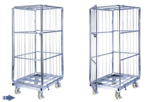 Four Wheels Folding Metal Steel Storage Cages with 4 Wheels pictures & photos