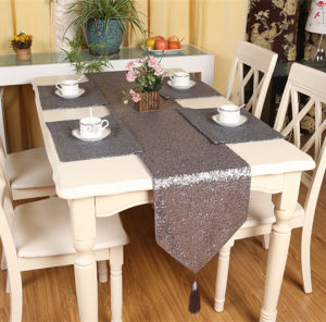 Sequin Embroidery Table Runner Embroidery Decorative Table Flag (JTR-39) pictures & photos