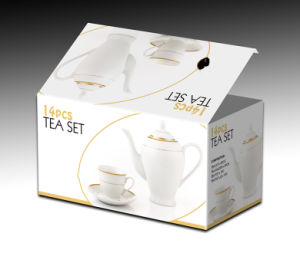 14PCS Eatra White Tea Set with Golded Design (9920) pictures & photos